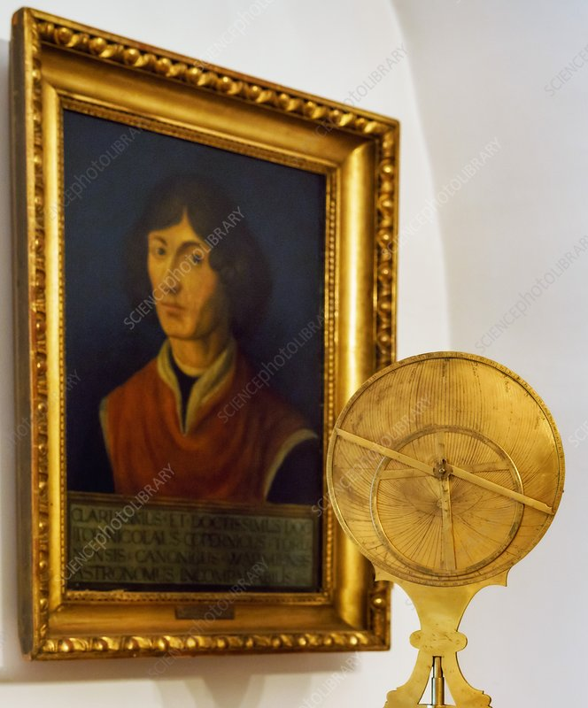 Astrolabe and portrait of Copernicus
