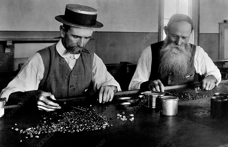 Diamond sorting, South Africa 1880s