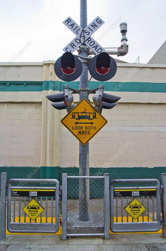 Railway crossing in downtown Los Angeles.