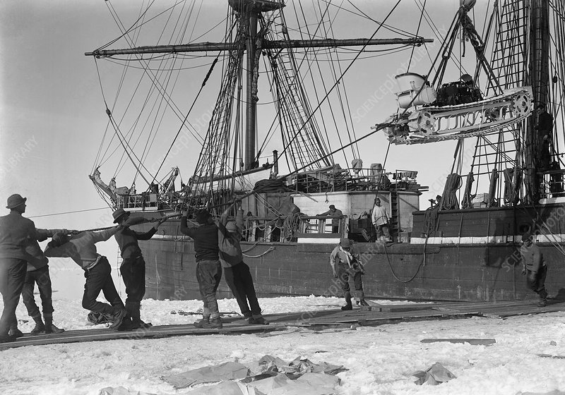 Unloading Antarctic motor sledge, 1911