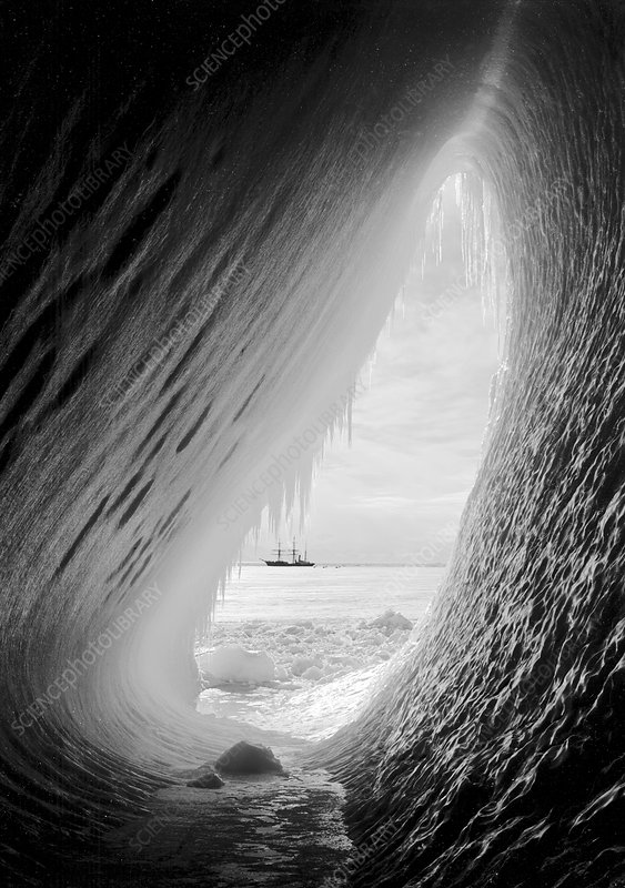 Antarctic ice grotto and Terra Nova, 1911