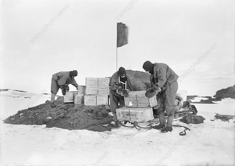 Terra Nova Antarctic depot laying, 1911