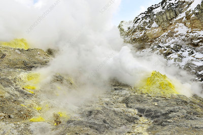 Sulphur deposits, Mount Iwo, Japan