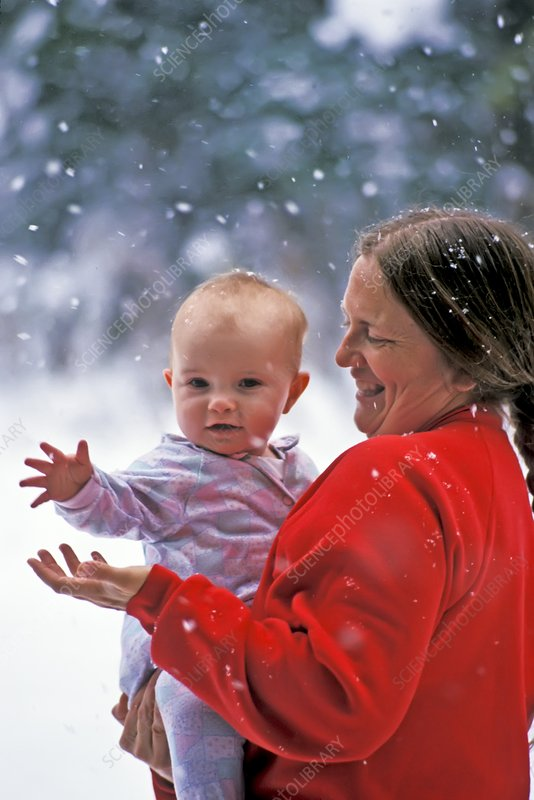 Mother and baby in snow