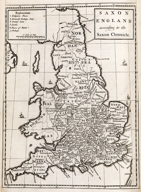 Map Of England 9th Century.Map Of Anglo Saxon England Stock Image C021 7765 Science Photo