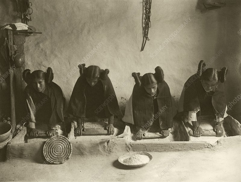 Hopi women grinding grain