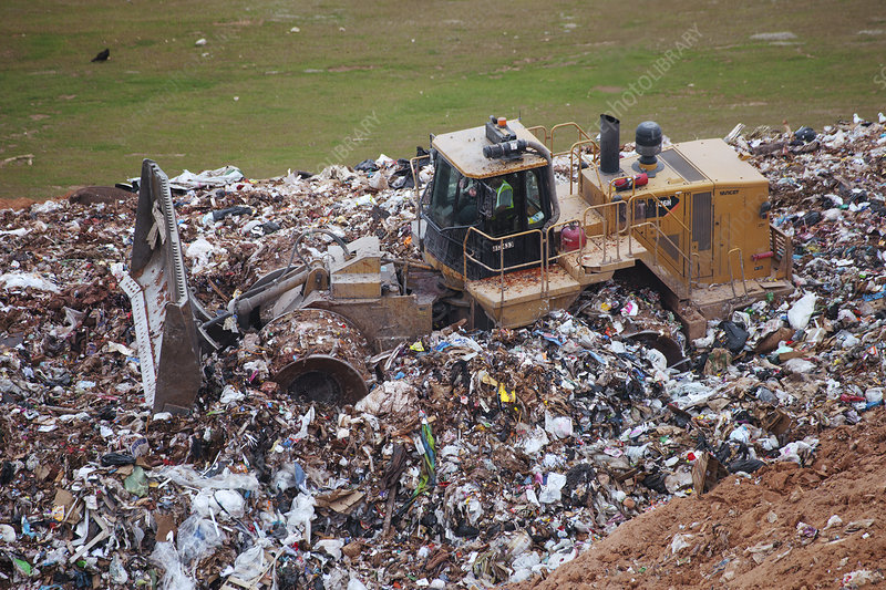 Landfill waste disposal bulldozer