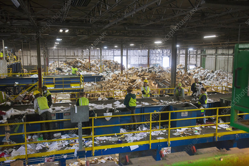 Waste sorting at a recycling centre
