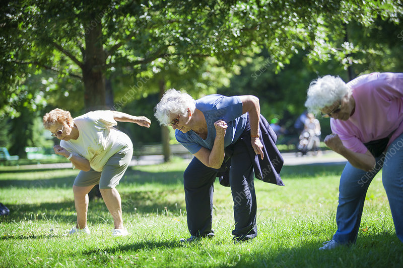 Elderly person practising a sport