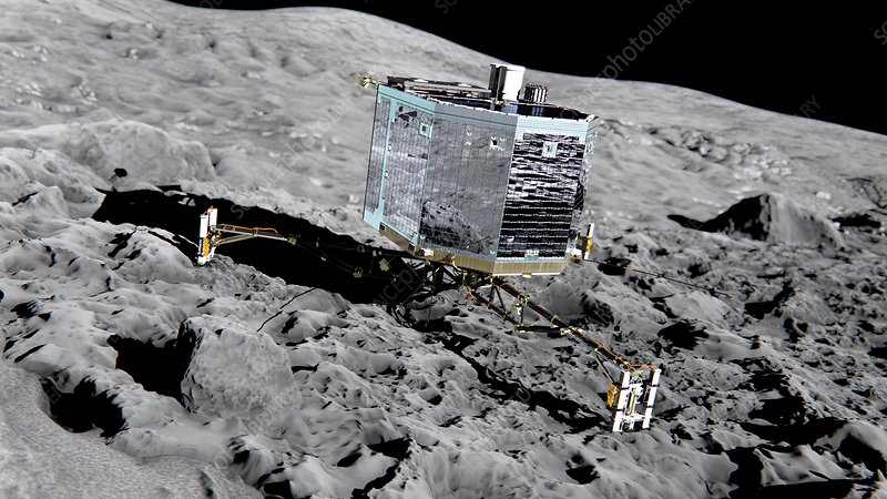 Philae lander on comet, artwork