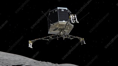 Philae descending to comet, artwork