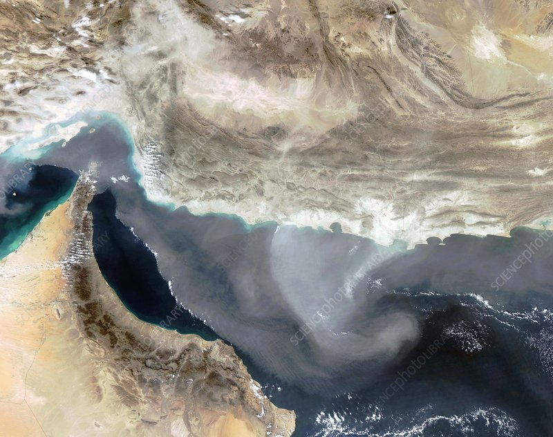 Dust storm over Iran, satellite image