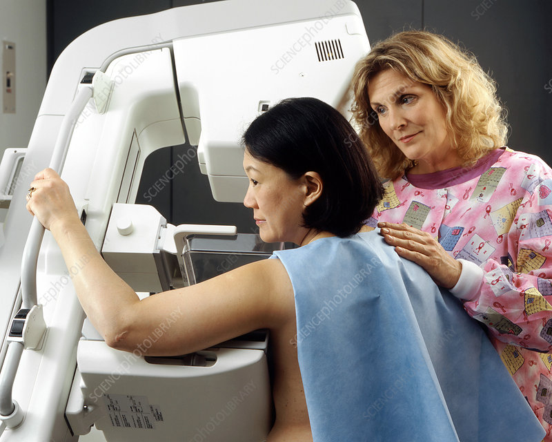 Woman undergoing breast screening