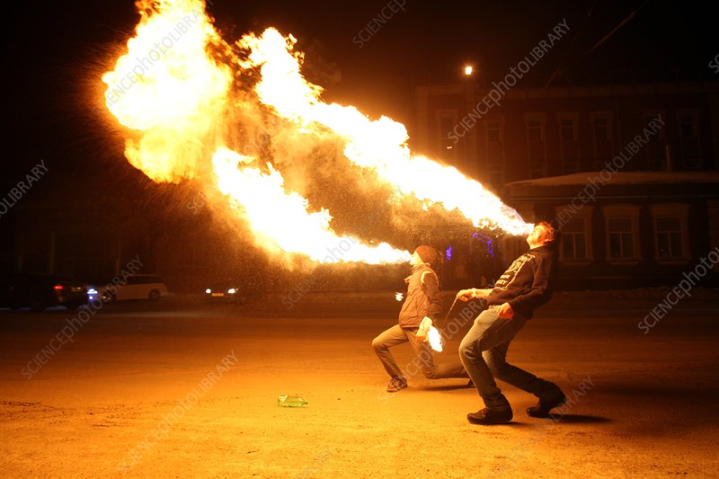 Fire breathing performers