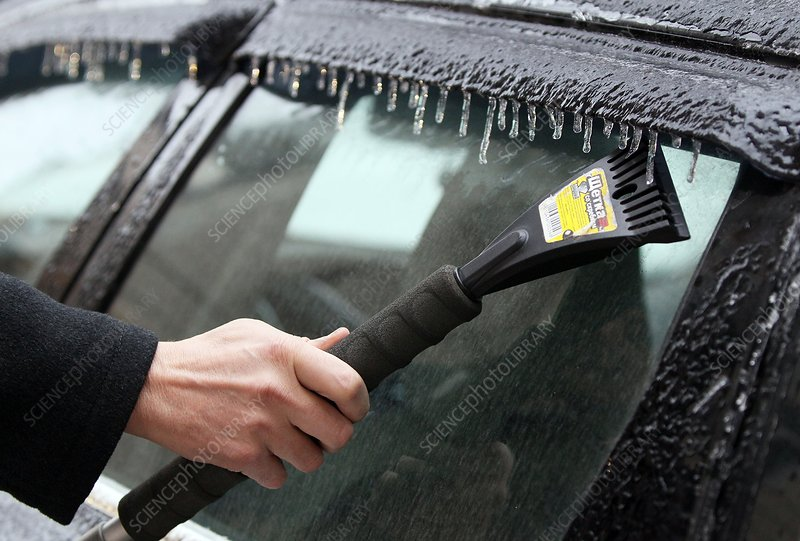 Scraping ice from car after ice storm