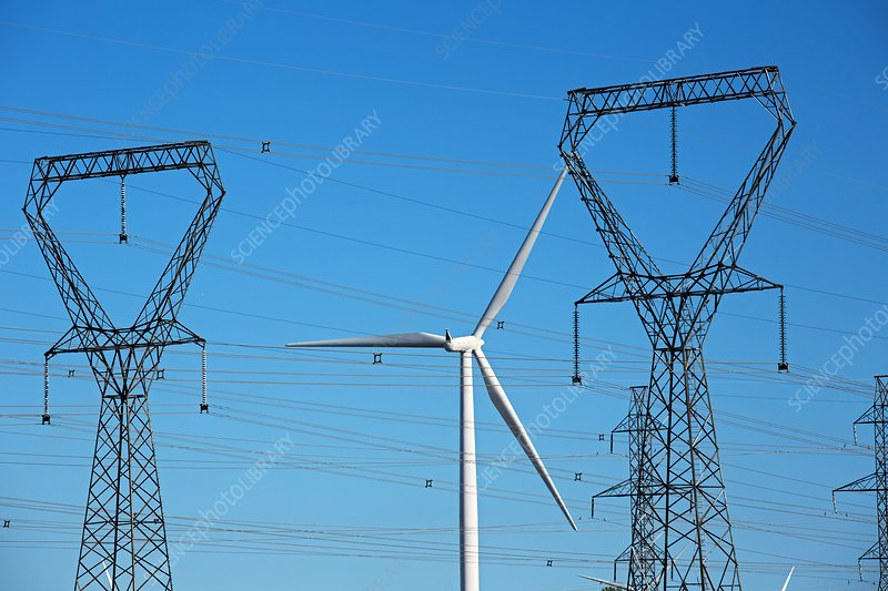 Wind turbine and electricity pylons