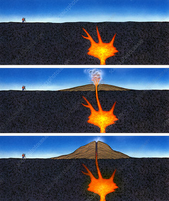 Formation of a volcano, artwork