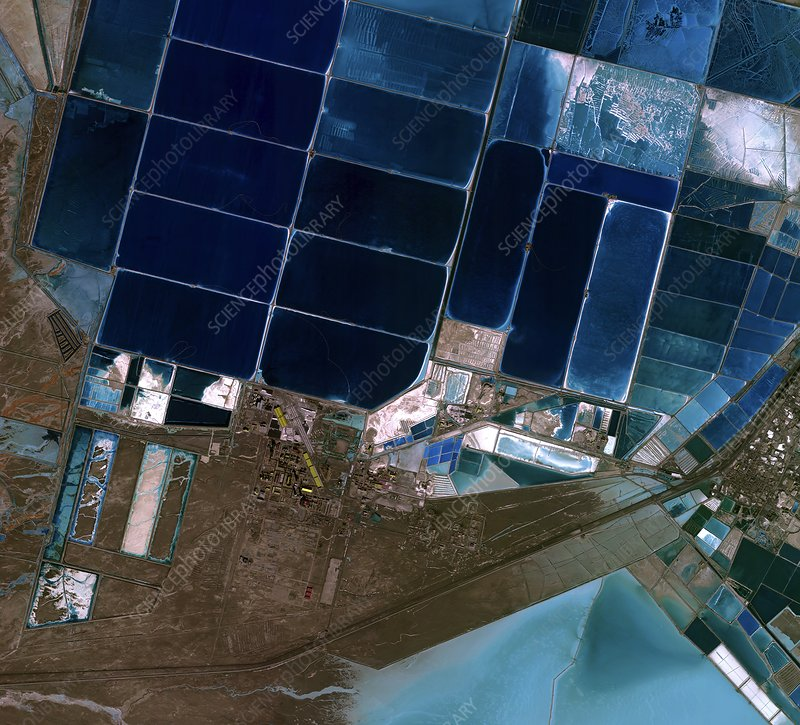 Salt evaporation ponds, satellite image