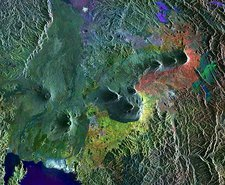 Virunga Mountains, satellite image