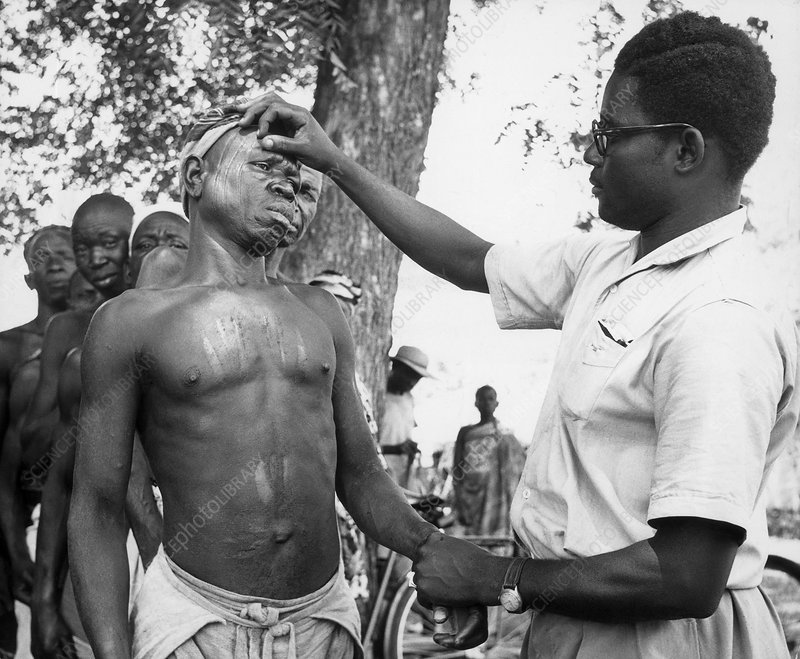Man with Leprosy Being Examined