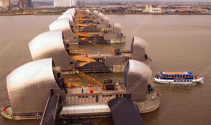 Thames Flood Barrier and boat, England