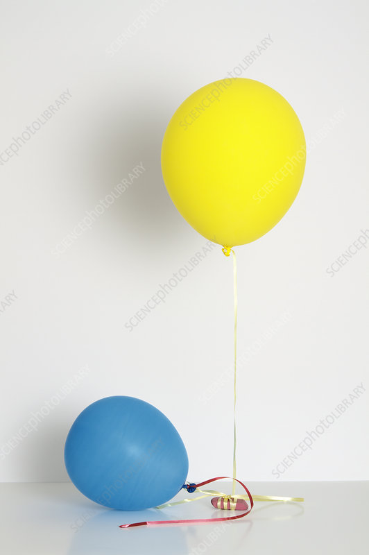 Balloons filled with helium and air