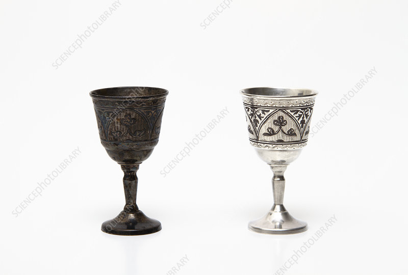 Tarnished and cleaned silver cups