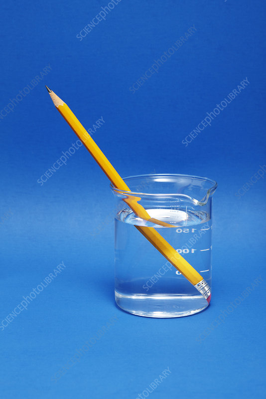 Pencil in a beaker with water