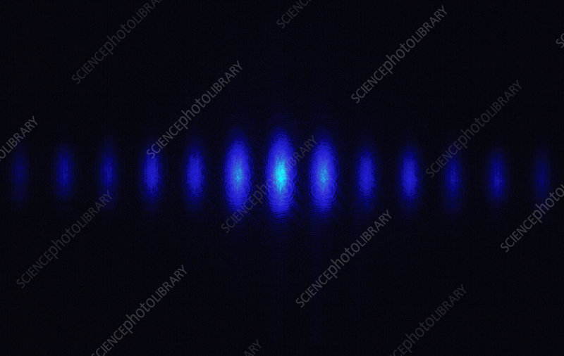 Laser beam split by a diffraction grating