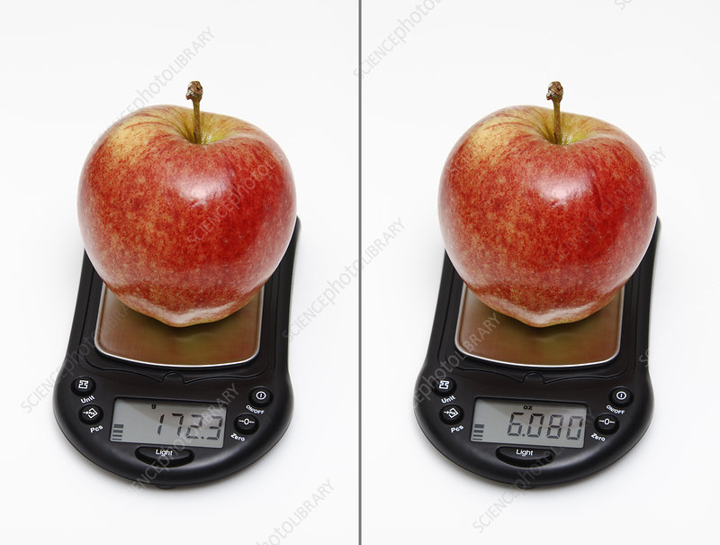 Apple weight in grams and ounces