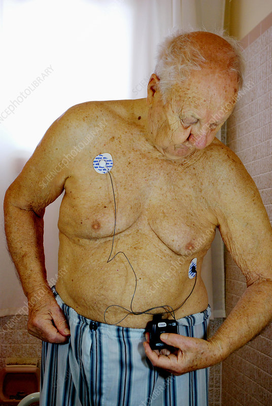 Elderly Man with Cardiac Event Recorder