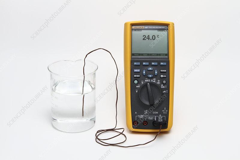 Thermocouple, Measuring Water Temperature - Stock Image - C022/0918