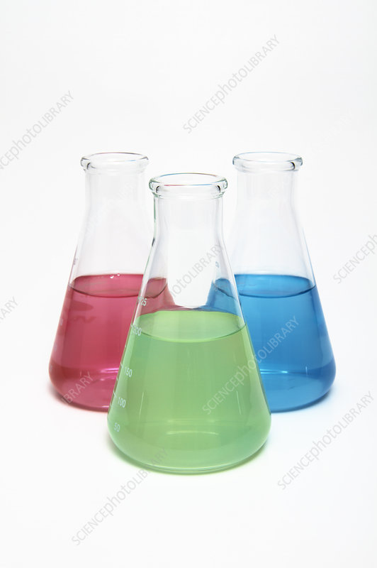 Erlenmeyer Flasks with Primary Colours
