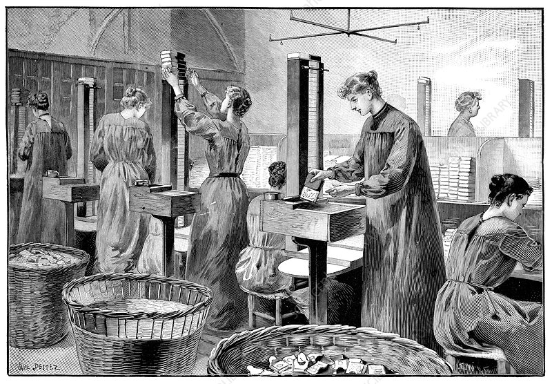Matchstick factory, 19th century