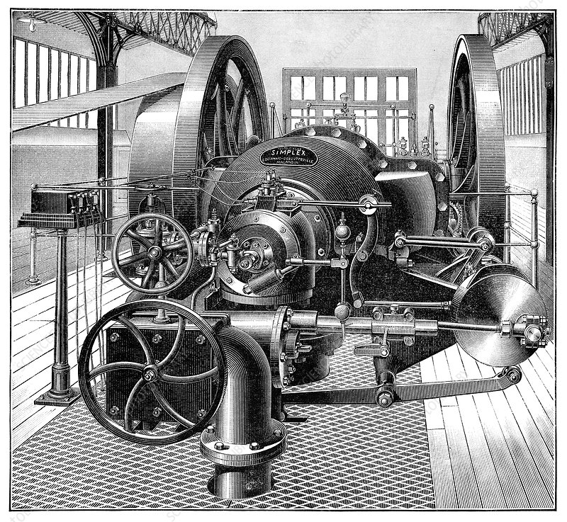 Industrial gas engine, 19th century