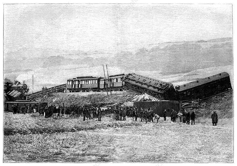 Derailed train, 19th century
