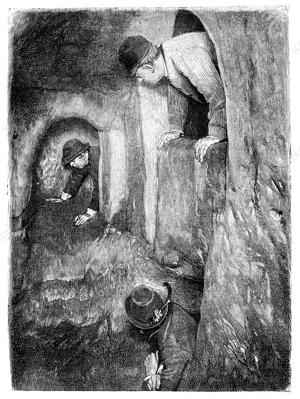 Caving in Switzerland, 19th century