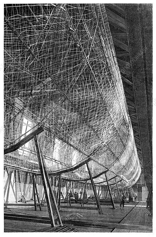 First Zeppelin under construction, 1900