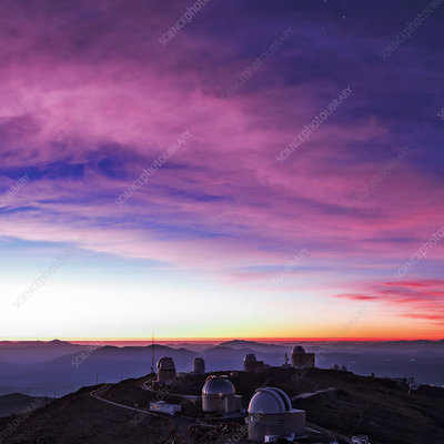 La Silla Observatory at dusk, Chile