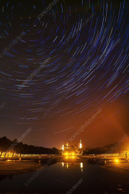 Star trails over Schwerin Palace, Germany