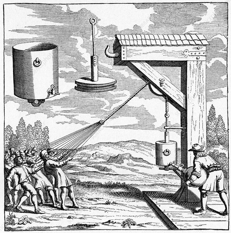 17th Century vacuum experiment, artwork