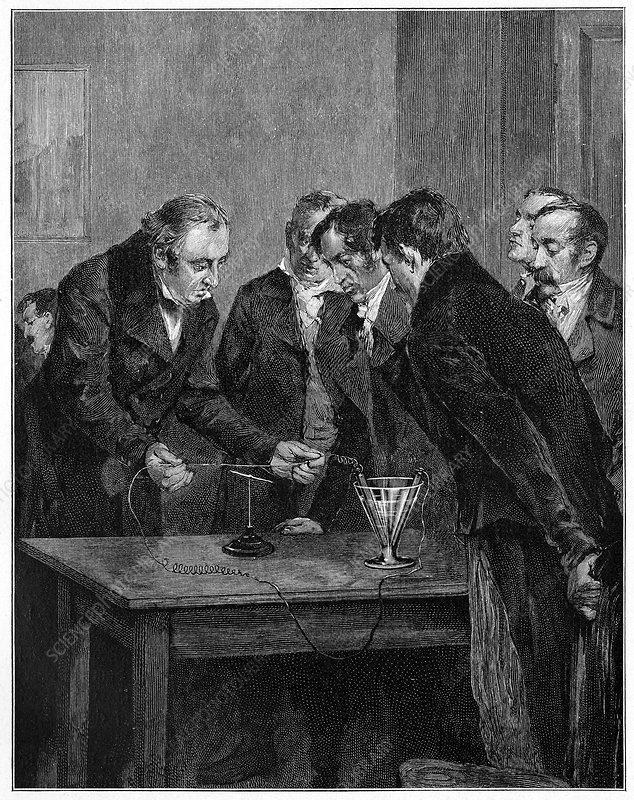 Hans Orsted experimenting, 1820 artwork
