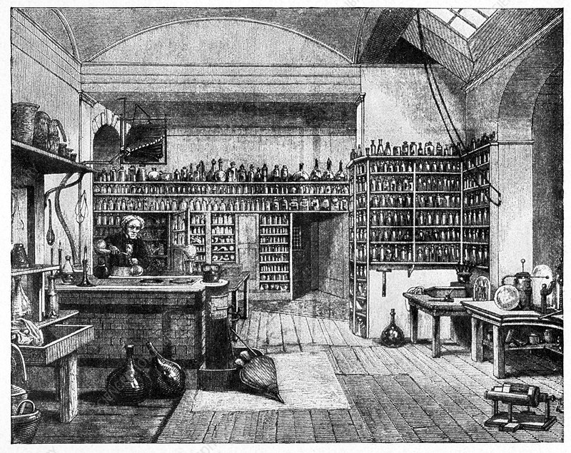 Michael Faraday in his lab, artwork
