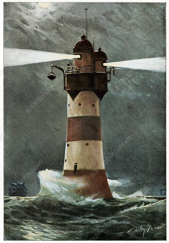 Lighthouse in a storm, historical artwork