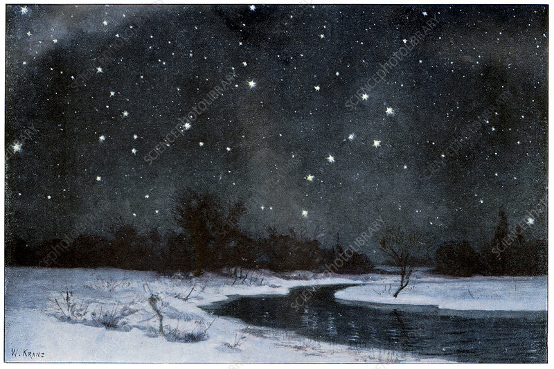 Stars over snow field, historical artwork