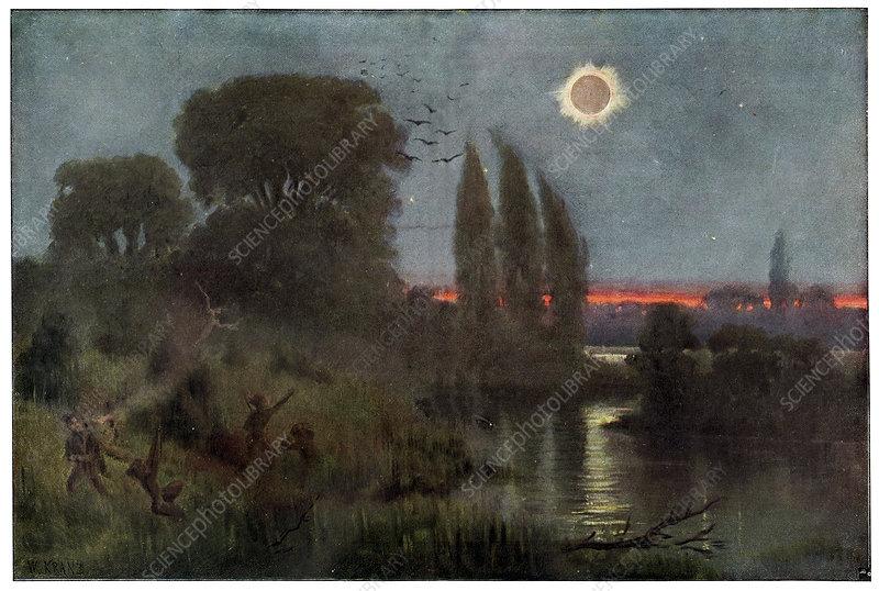 Total solar eclipse, historical artwork