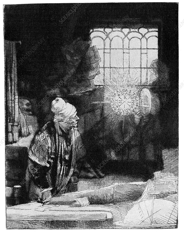 Faust by Rembrandt, 17th Century artwork