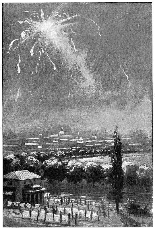 Meteorite shower, Madrid, 1896, artwork