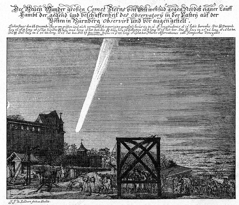 Great Comet of 1680, historical artwork