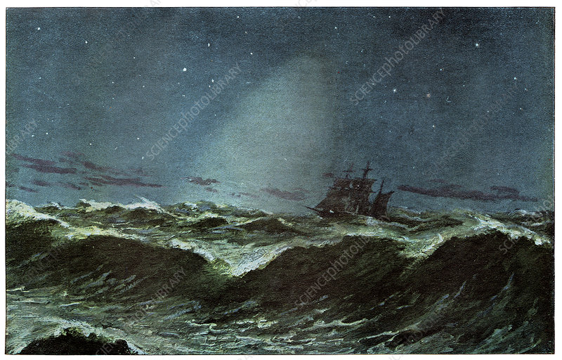 Zodiacal light over the sea, artwork